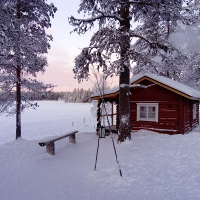 In winter, the lake is frozen. Ice hole is made for dipping in  and having refreshing break during sauna bathing.