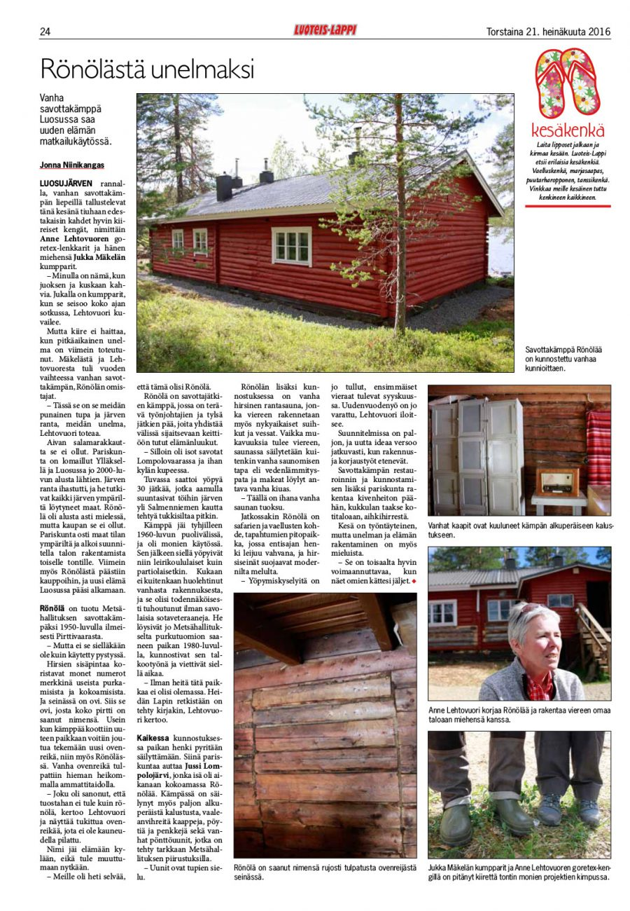 Ronola Article Published in Luoties-Lappi 2016-07-21