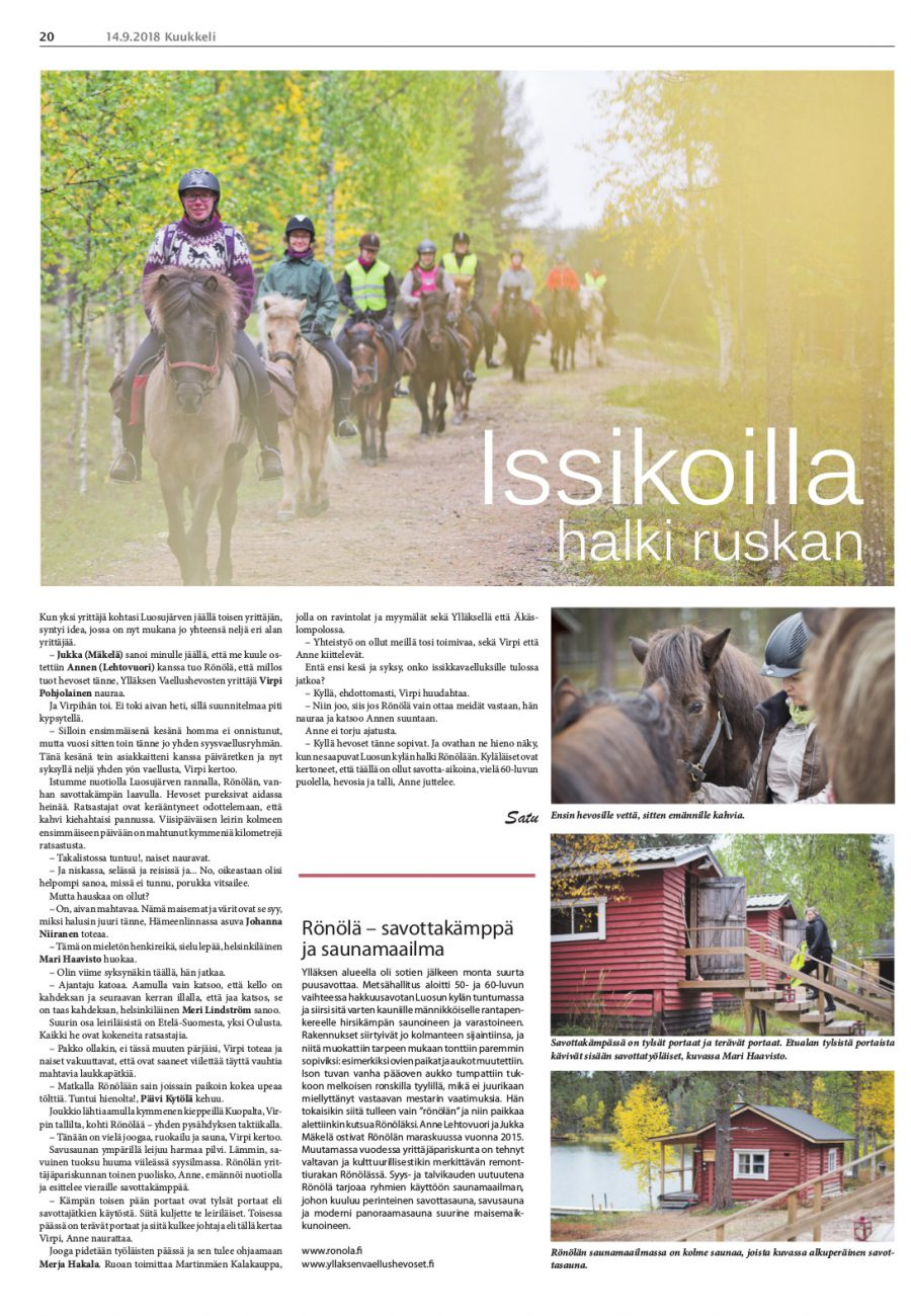 Ronola Article Pubslished in Kuukkeli 2018-09-14