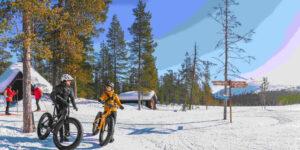 Ylläs talvipolku talvipyöräilijöitä